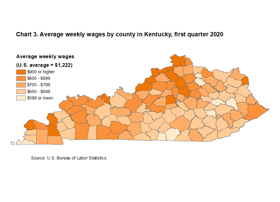 Chart 1. Average weekly wages by county in Kentucky, first quarter 2020