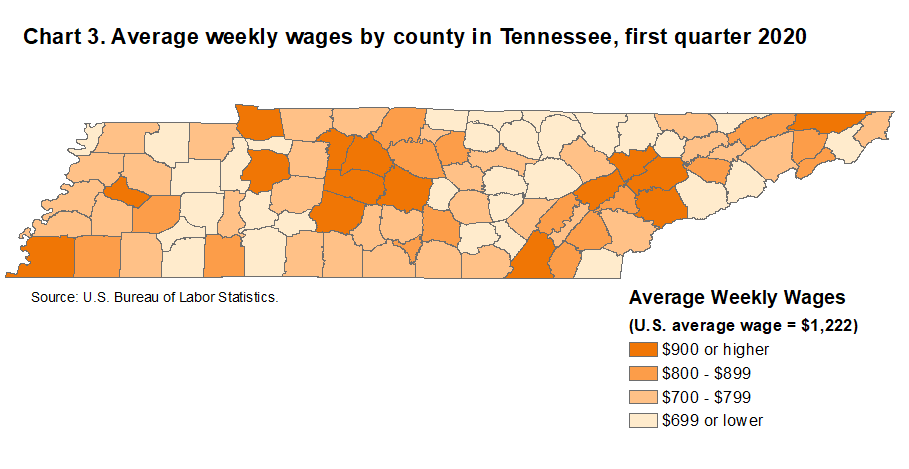 Chart 3. Average weekly wages by county in Tennessee, first quarter 2020