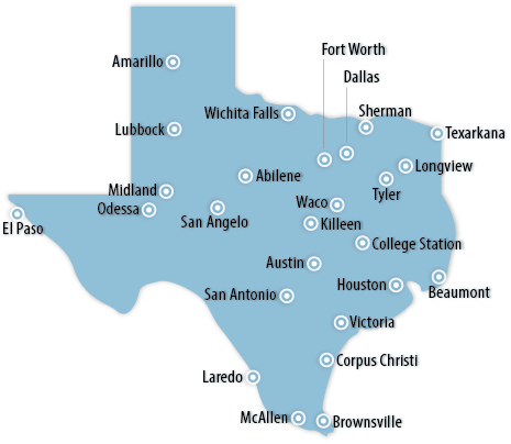 Texas Southwest Information Office US Bureau Of Labor Statistics - Map of texas showing major cities