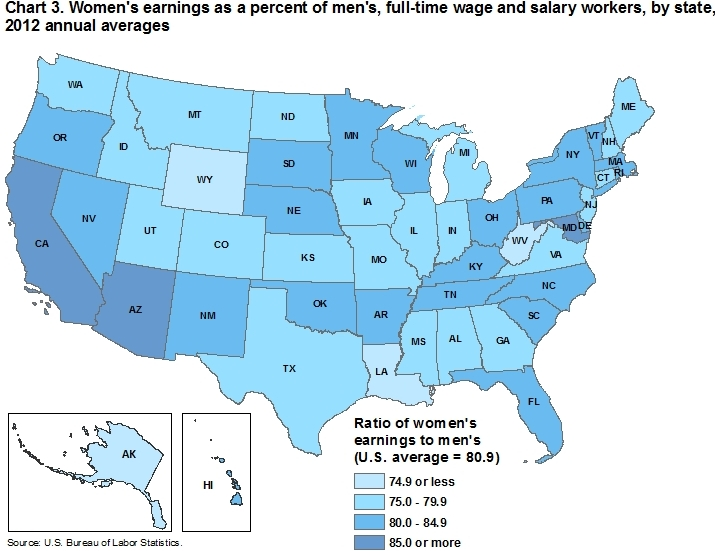 Chart 3. Womens earnings as a percent of mens, full-time wage and salary workers, by state, 2012 annual averages