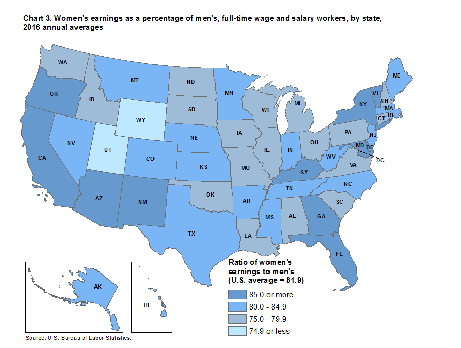 Chart 3. Women's earnings as a percentage of men's, full-time wage and salary workers, by state, 2016 annual averages