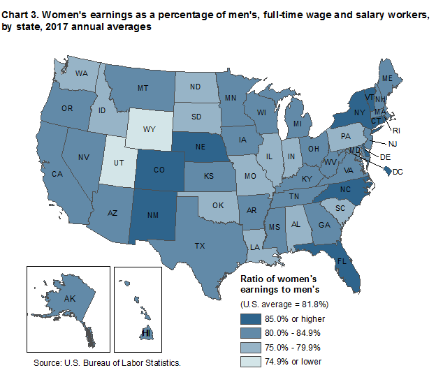 Chart 3. Women's earnings as a percentage of men's, full-time wage and salary workers, by state, 2017 annual averages