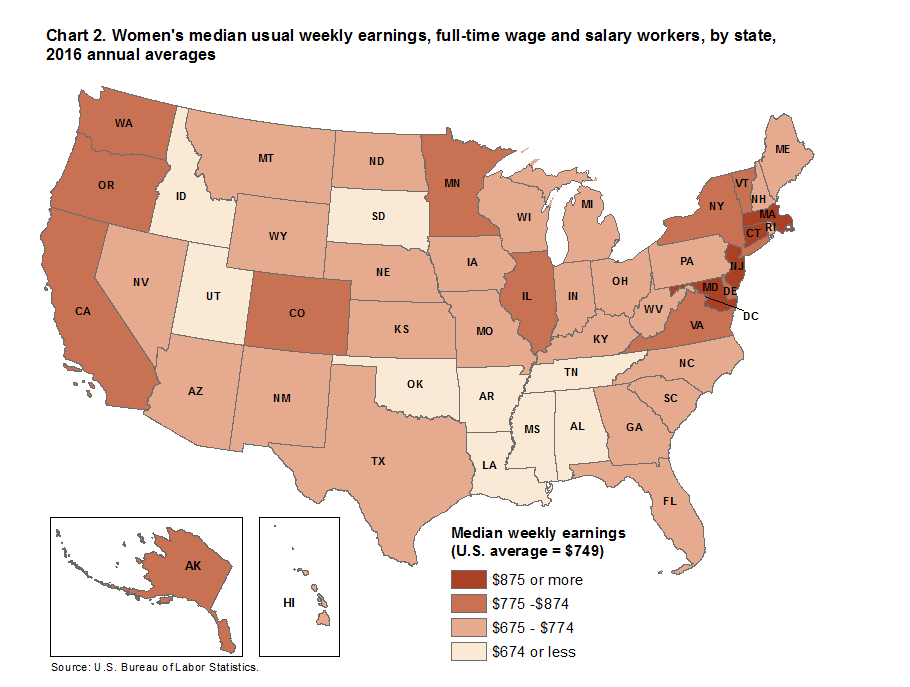 Chart 2. Women's median usual weekly earnings, full-time wage and salary workers, by state, 2016 annual averages