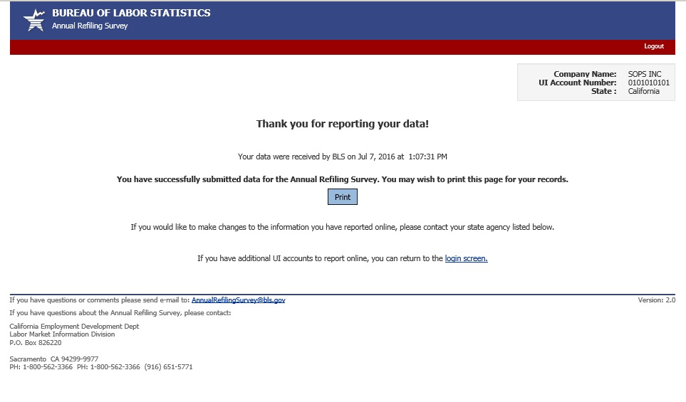 You will see the report verification page after you click Submit Data to BLS