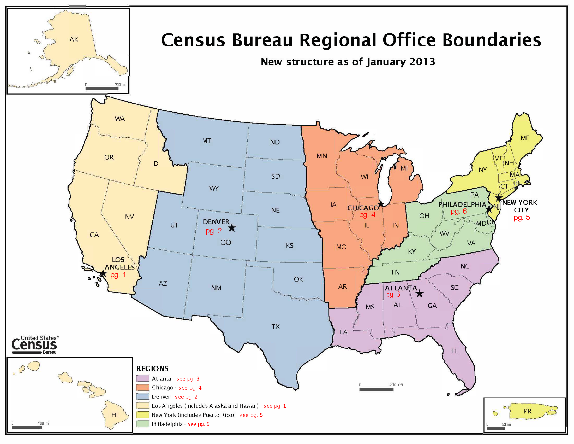 Census Bureau Regional Office Boundaries Map