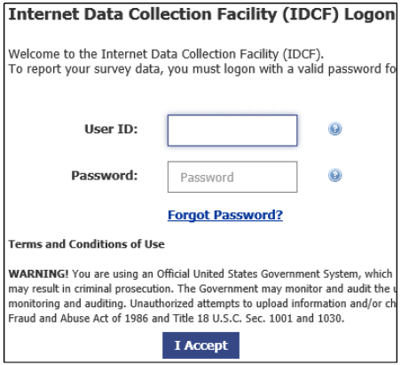 Internet Data Collection Facility Logon Screen