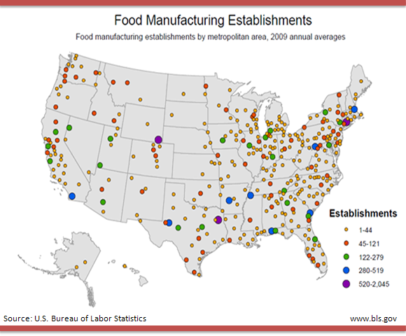 Food manufacturing establishments by metropolitan area, 2009 annual averages