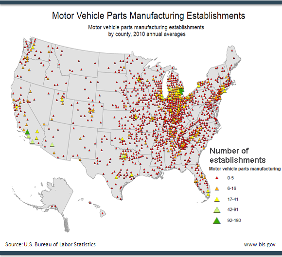 Annual averages of motor vehicle parts manufacturing establishments, by county, 2010