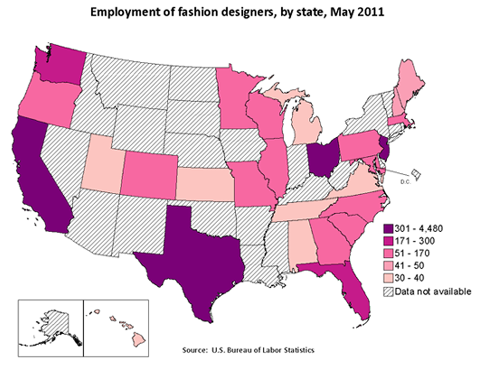 Employment of fashion designers, by state, May 2011