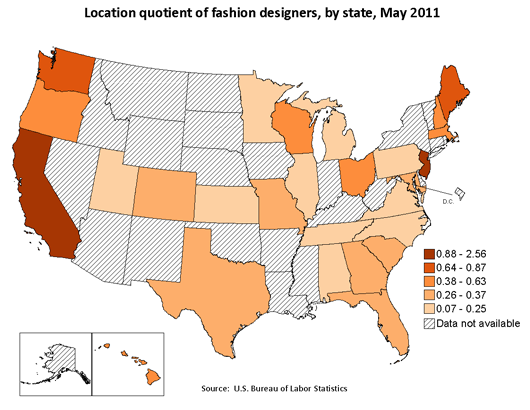 Location quotient of fashion designers, by state, May 2011