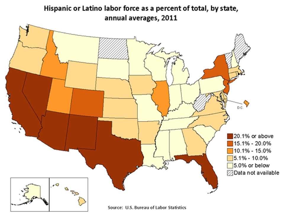 Hispanic Labor Force by State