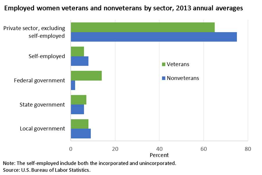 Women veterans more likely than nonveterans to work in federal government image