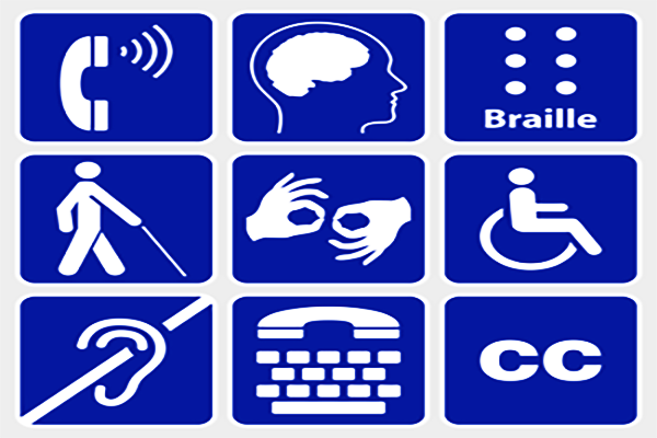 Matric of symbols representing various disabilities