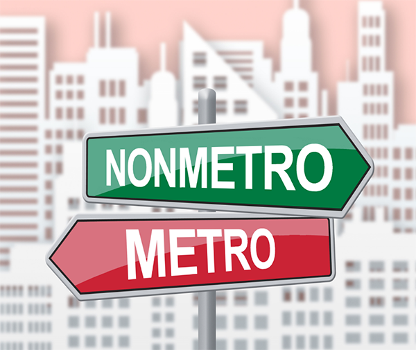crossroads sign with arrows pointing to metro and nonmetro, cover image for this Spotlight on statistics